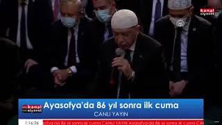 Cumhurbaşkanı Erdoğan, cuma namazı öncesinde Kur'an-ı Kerim okudu.