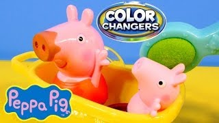 Peppa Pig Color Changers Muddy Puddles Bathtime Peppa Fisher Price Toys Review Nick Jr