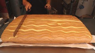 Jiggly Fluffy Cake Cutting - Taiwanese Street Food