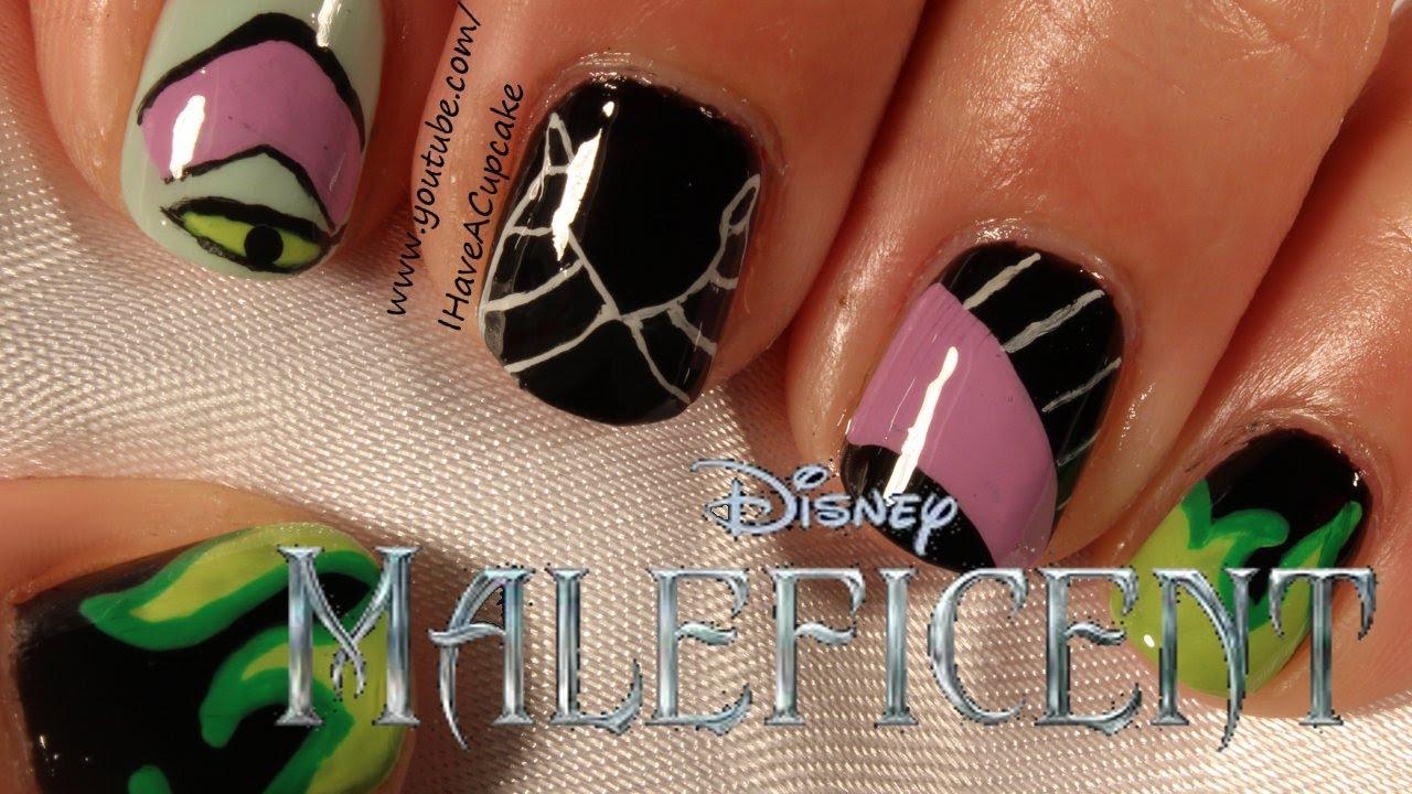 Maleficent Inspired Nail Art - YouTube