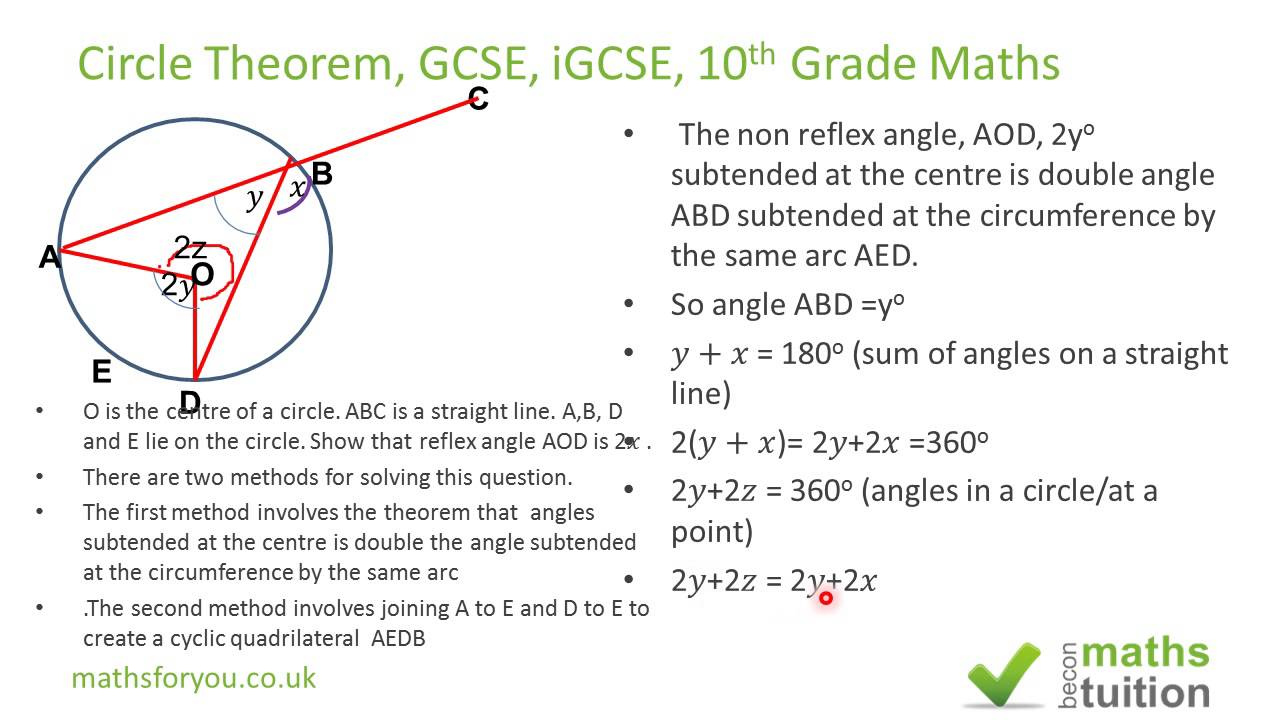 circle theorem igcse gcse maths 10th grade geometry part 7 youtube. Black Bedroom Furniture Sets. Home Design Ideas
