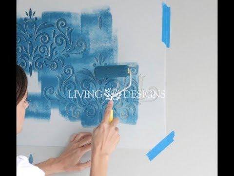 C mo pintar paredes con plantillas y crear en efecto papel - Plantillas para pintar paredes ikea ...