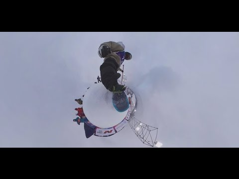 Трюк bs double cork 1080 ,   снят на  панорамную камеру 360 ,   закрепленную на  доску российского райдера
