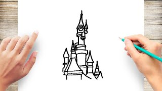 How to Draw Disneyland Paris Step by Step