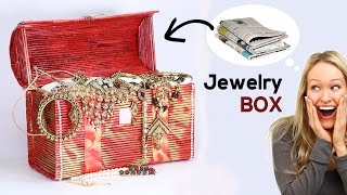 How to make jewellery box with newspaper, Best out of waste material craft ideas. Find 30+ Amazing Newspaper Crafts: https://goo.