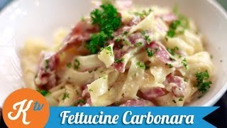 Resep Fettucine Carbonara (fettucine Carbonara Recipe Video)