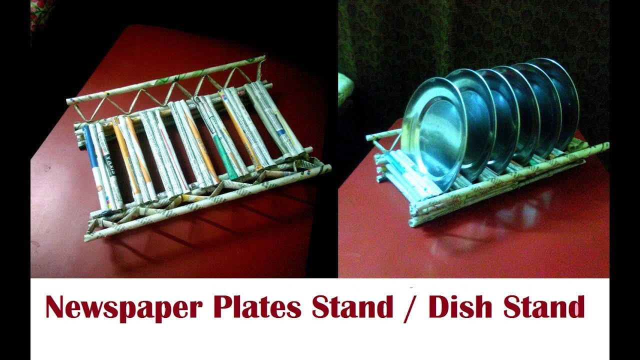 Dish stand / Plates stand for kitchen using newspaper   DIY Newspaper Plates stand Newspaper Craft & Dish stand / Plates stand for kitchen using newspaper   DIY ...