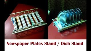 Dish stand / Plates stand for kitchen using newspaper |  DIY Newspaper Plates stand Newspaper Craft