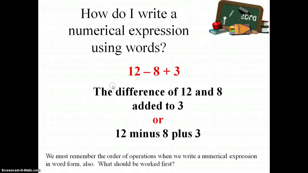medium resolution of Numerical Expressions (examples
