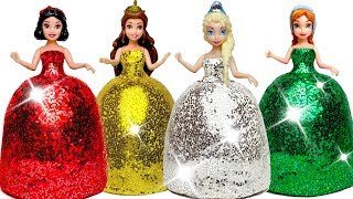 DIY How To Make Play Doh Super Sparkle Disney Princess Dresses for Kids