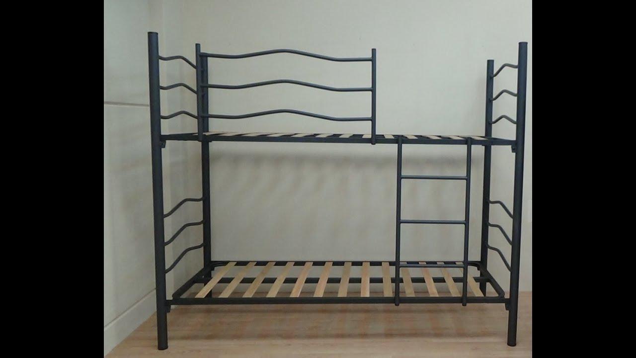 Litera Plus cama de 90x190cm negro metalizado con somieres 30x30mm ...