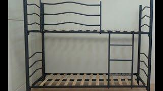 Litera metálica Plus cama de 90x190cm negro metalizado con somieres 30x30mm dormitorio