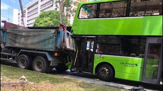 2aug2018 singapore go ahead bus crashes on tipper truck parked along the roadside @ bedok