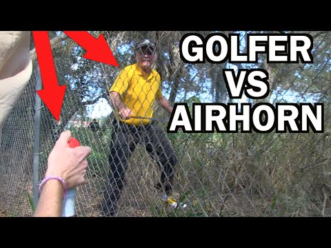 CRAZY GOLFER ATTACKS US! Ghillie Suit Golf Course Air Horn | JOOGSQUAD PPJT