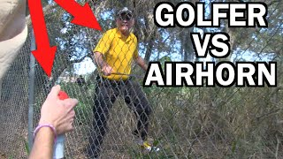 CRAZY GOLFER ATTACKS US! Ghillie Suit Golf Course Air Horn
