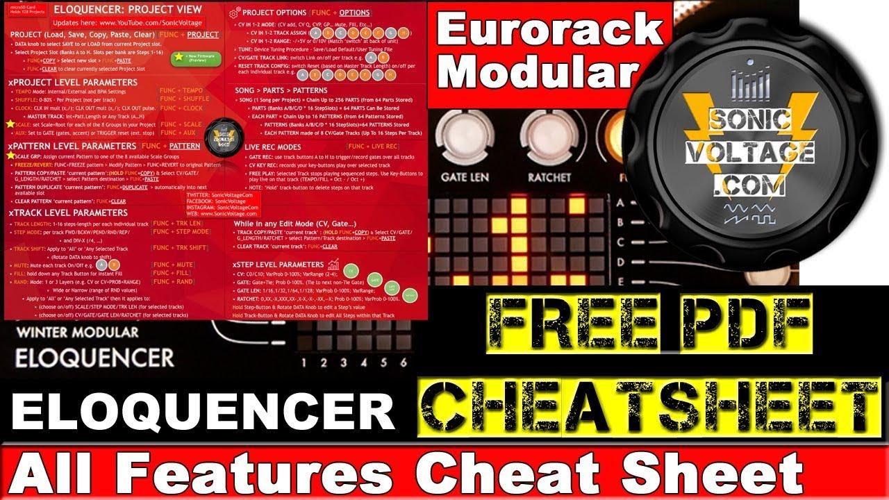 FREE Winter Modular Eloquencer Cheat Sheet PDF Download Eurorack Modular  Sequencer