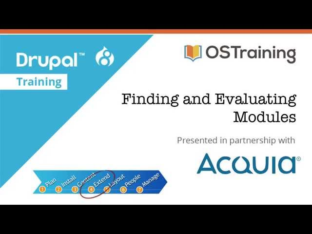 Drupal 8 Beginner, Lesson 47: Finding and Evaluating Modules