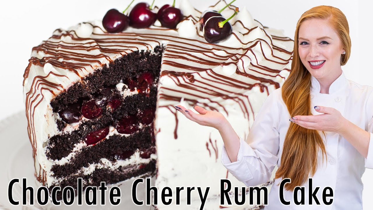 Chocolate Cherry Rum Cake with Meringue Butter Cream - YouTube