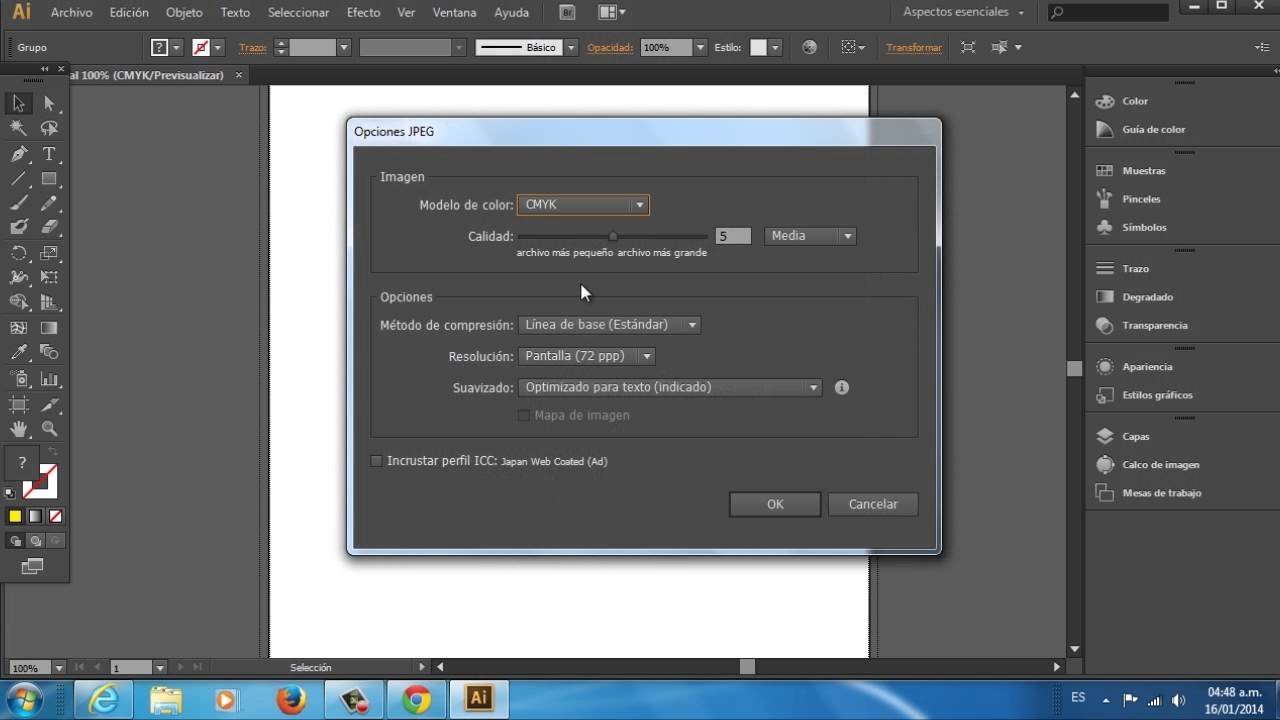 Cómo guardar un archivo de Adobe Illustrator CS6 en JPEG - YouTube
