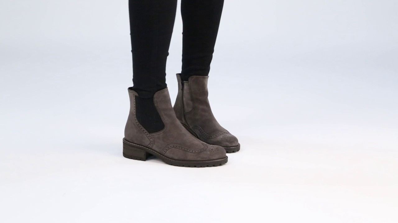 87a1ba4a5ab55 GABOR Imagine Dark Grey Suede Womens Chelsea Look Boots - YouTube