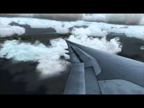 Airbus A330 flying over Cayman Islands