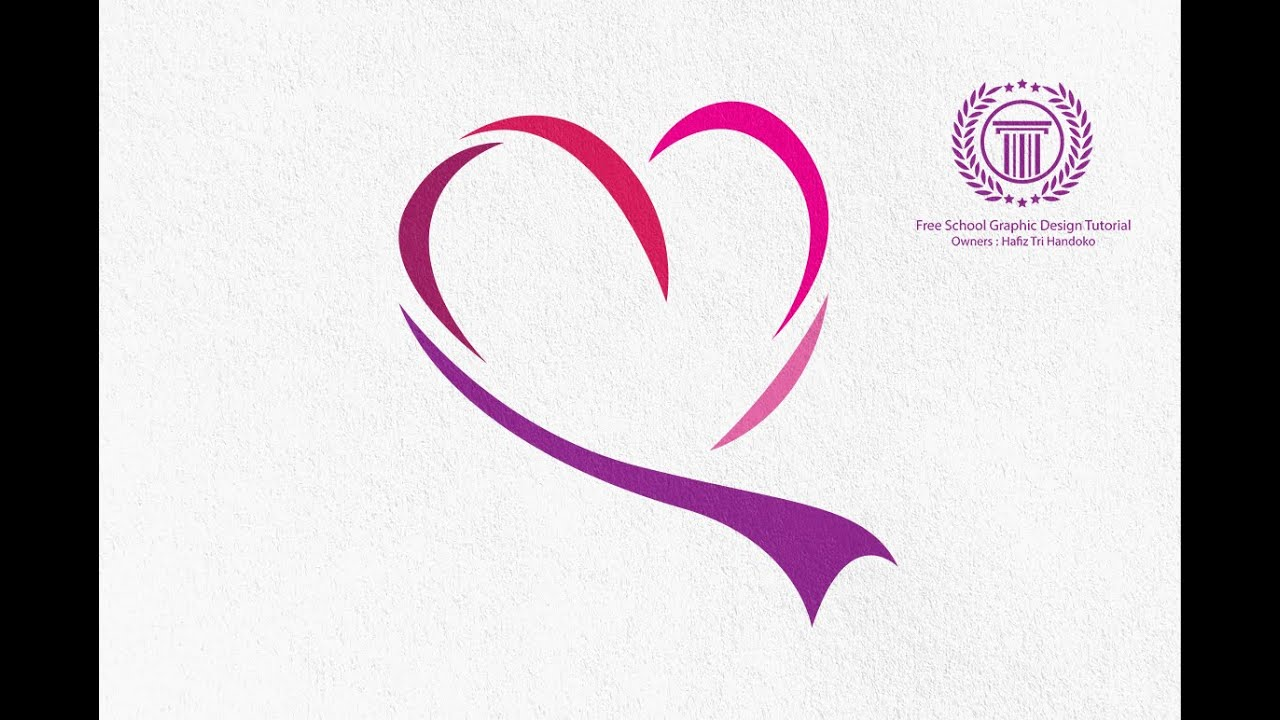 Love heart logo design tutorial for beginners how to for Love in design