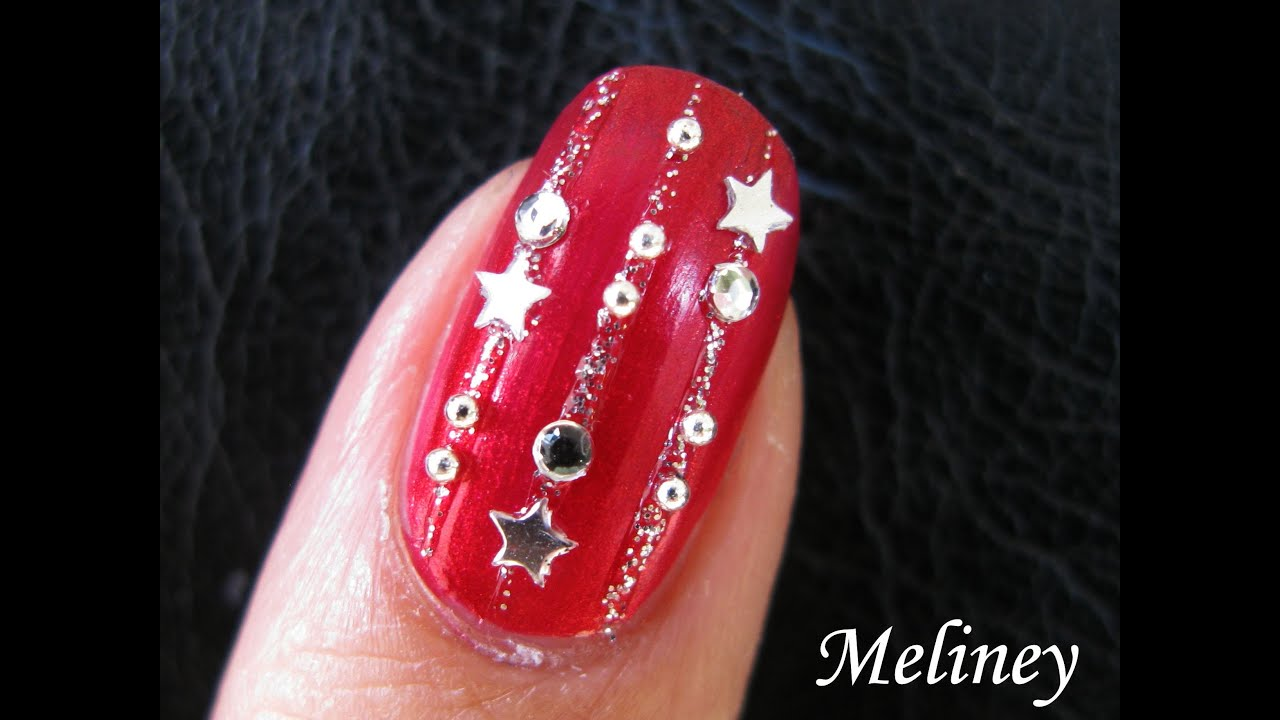 Easy Nail Art Tutorial New Years Eve Party Nails For Holidays Red