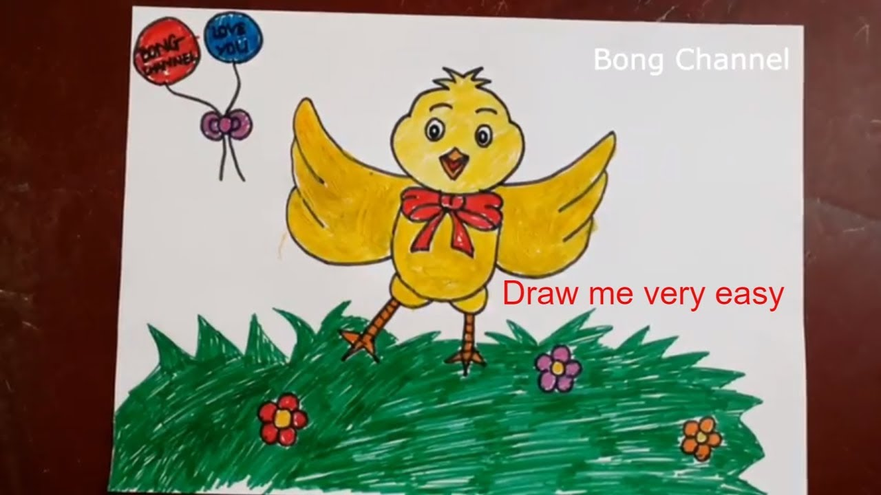 How to draw a baby chick | Bong Channel