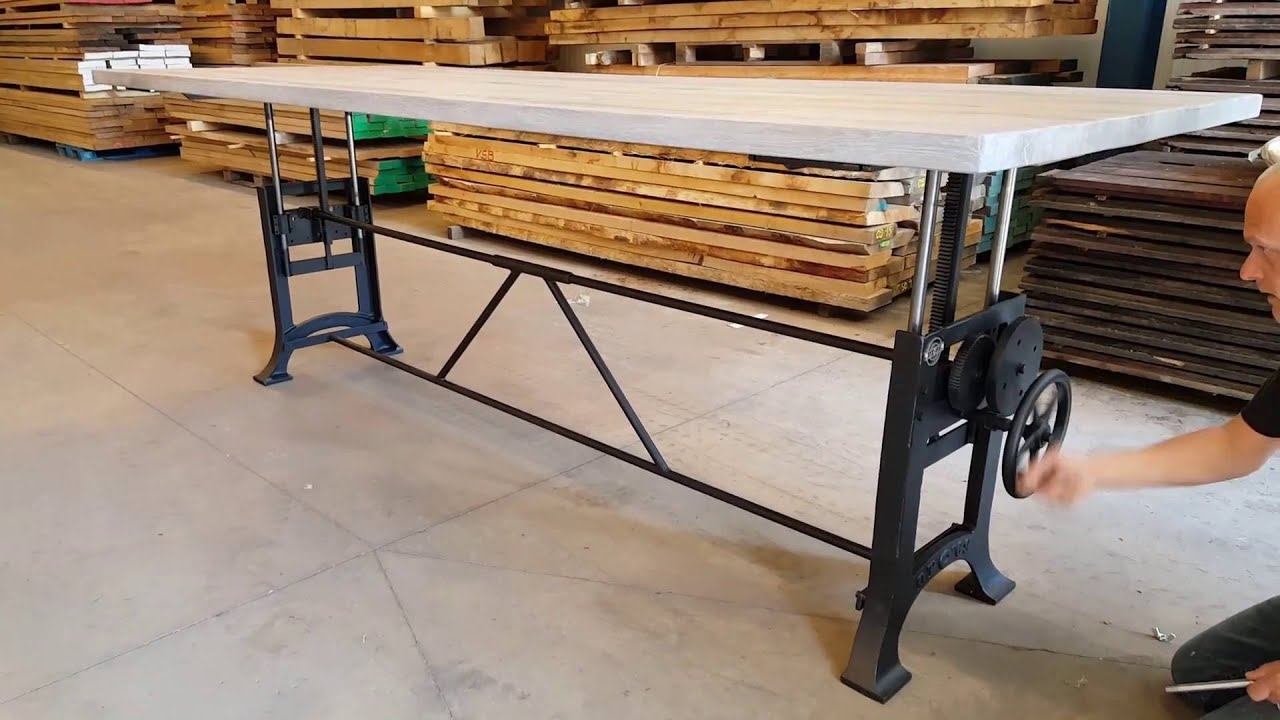 Adjustable Height Crank Table Hoogte Verstelbare Tafel H Henverstellbare Tisch Youtube