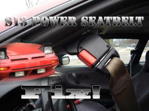 240sx S13 Power Seatbelt Fix 89-92 - YouTube on seat harness hole inserts, seat belt retractor diagrams, seat belt assembly parts,