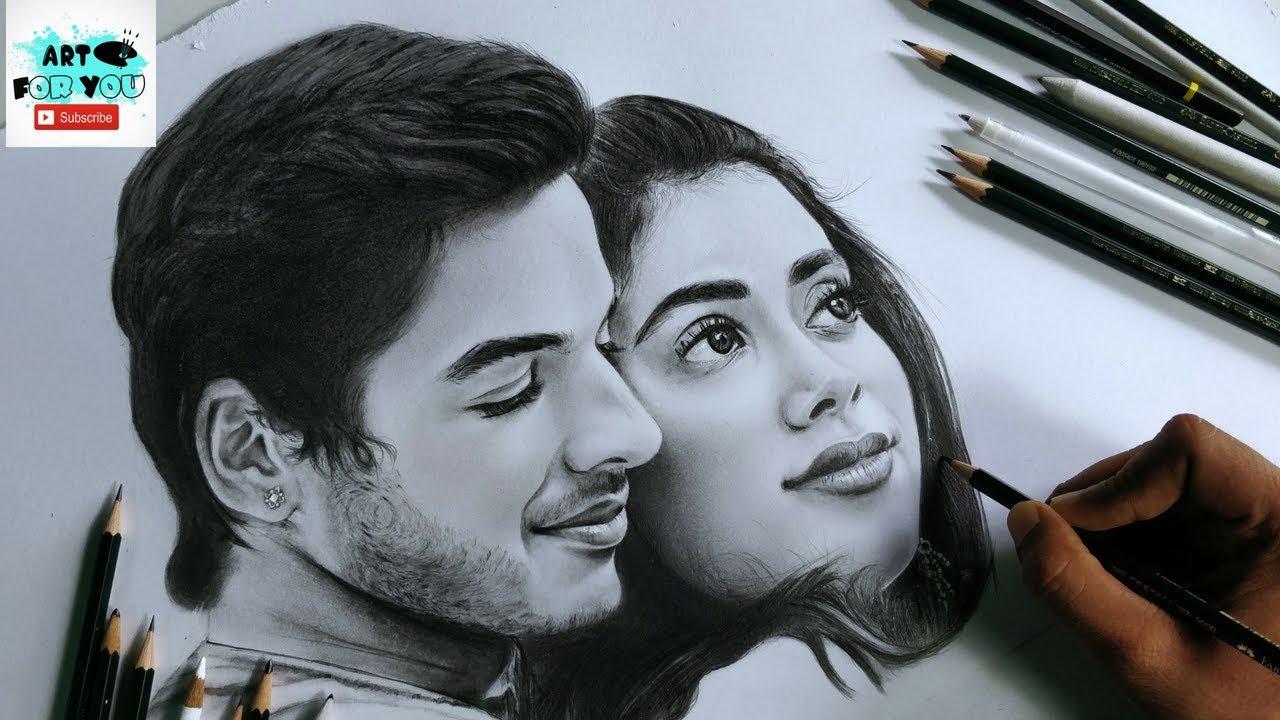 Drawing Dhadak Stars - Realistic Sketch   Janhvi and Ishaan's Sketch   Dhadak Sketch