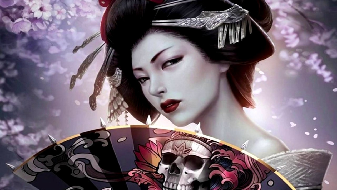 Red geisha kimono asian costume
