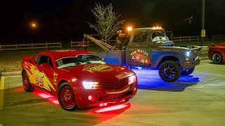 Lightning McQueen and Tow Mater STEAL THE SHOW at Small Car Meet!!