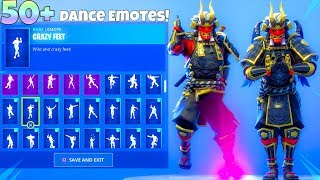 "NEW! ONI ""shogun"" SKIN With 50+ Dance Emotes SHOWCASE! Fortnite Battle Royale"