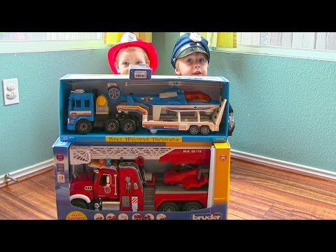 Toy Truck Videos for Children - Toy Bruder Mack Fire Engine and Toy Police Truck and Helicopter