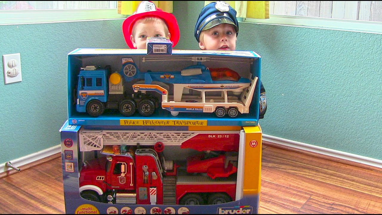 Toy Truck Videos for Children Toy Bruder Mack Fire Engine and
