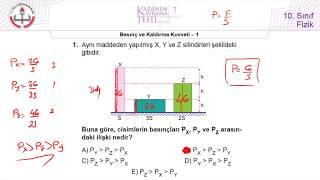 10.Sınıf MEB Okul Kursu Fizik K.K.Testi-7 (Basınç ve Kaldırma Kuvveti-1) [2018-2019]