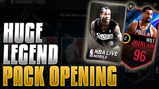 NBA Live Mobile - HUGE LEGENDARY PACK OPENING! 8 PACKS!! OPENING FOR 96 COUSY AND Wilt Collectibles!