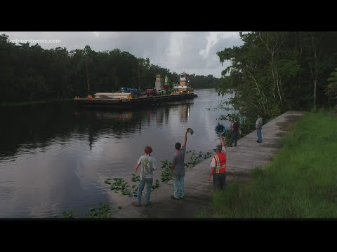 Confederate Memorial Reaches Trout Creek Fish Camp By Barge