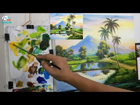 Teaching landscape painting in Vietnamese villages. (Free online drawing lessons)
