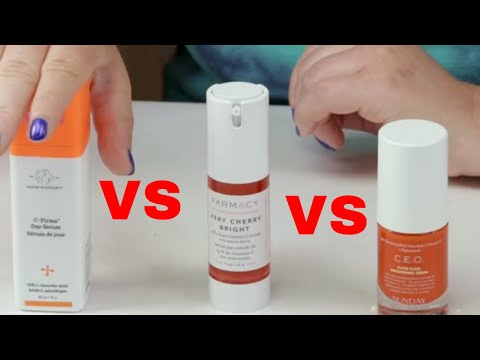Farmacy Very Cherry Vitamin C 🍒 VS🐘 Drunk Elephant C-Firma VS Sunday Riley CEO 15% Vitamin C Serum