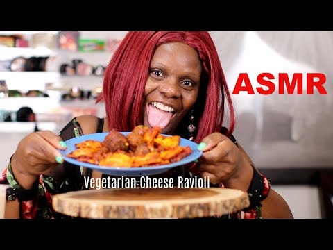 ASMR Eating Vegetarian Cheese Ravioli Meatless
