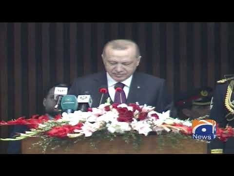 Turkish President Erdogan addresses joint session of Parliament in Pakistan
