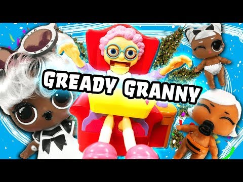 LOL Surprise Dolls Makeover Series Play Greedy Granny! With Yang QT, Witchay Babay, and Daring Diva!