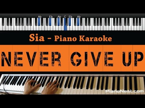 Sia - Never Give Up - Piano Karaoke / Sing Along / Cover with Lyrics