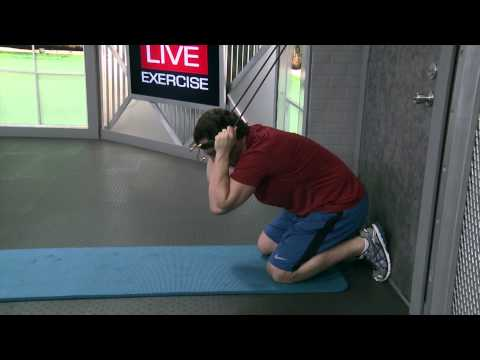 Kneeling Abs Crunch (Back to Door) with resistance bands