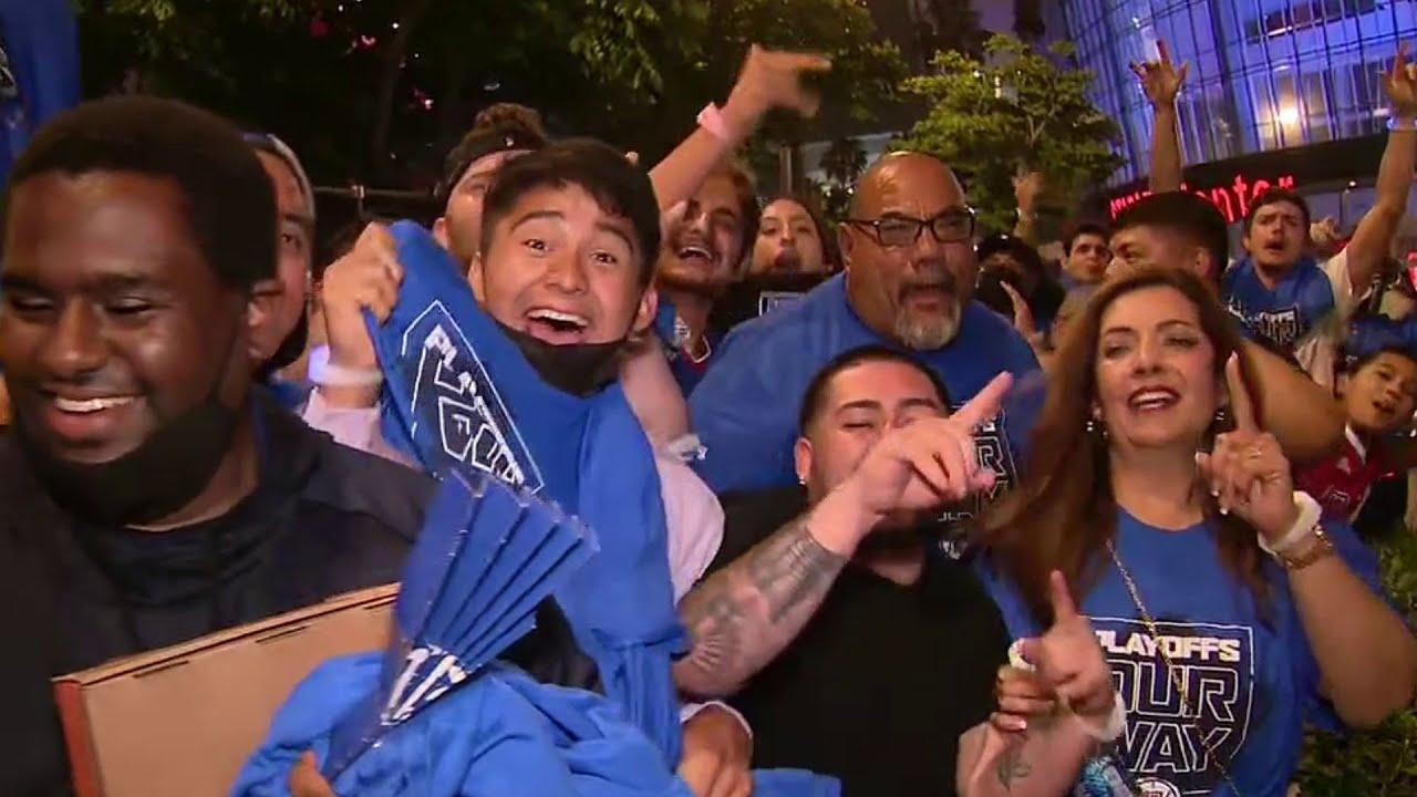 Fan celebrate Clippers' historic win outside Staples Center