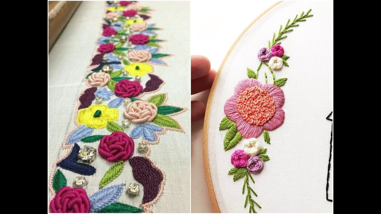 Hand Embroidery Flower Designs By Hand Work 2018 Flower Designs