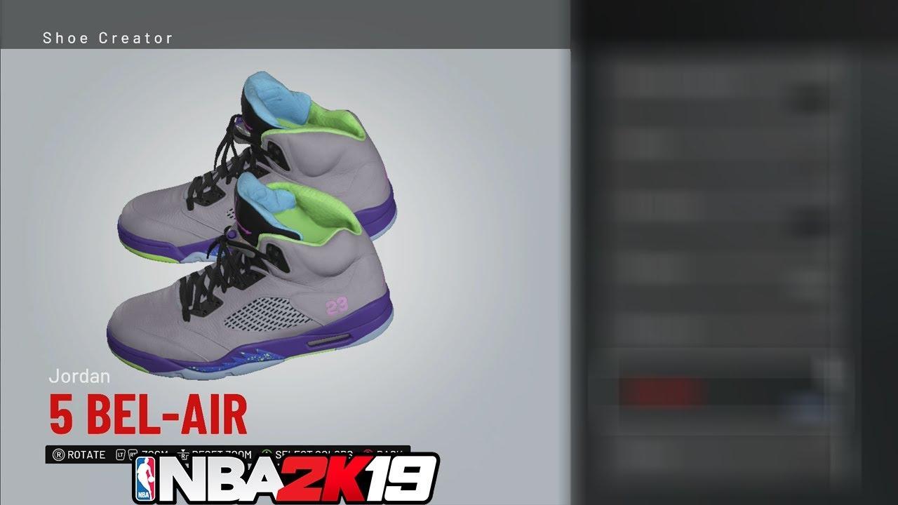 88ef10ec043 NBA 2K19 Shoe Creator Jordan 5 Bel-Air 🔌🔥👟 - YouTube