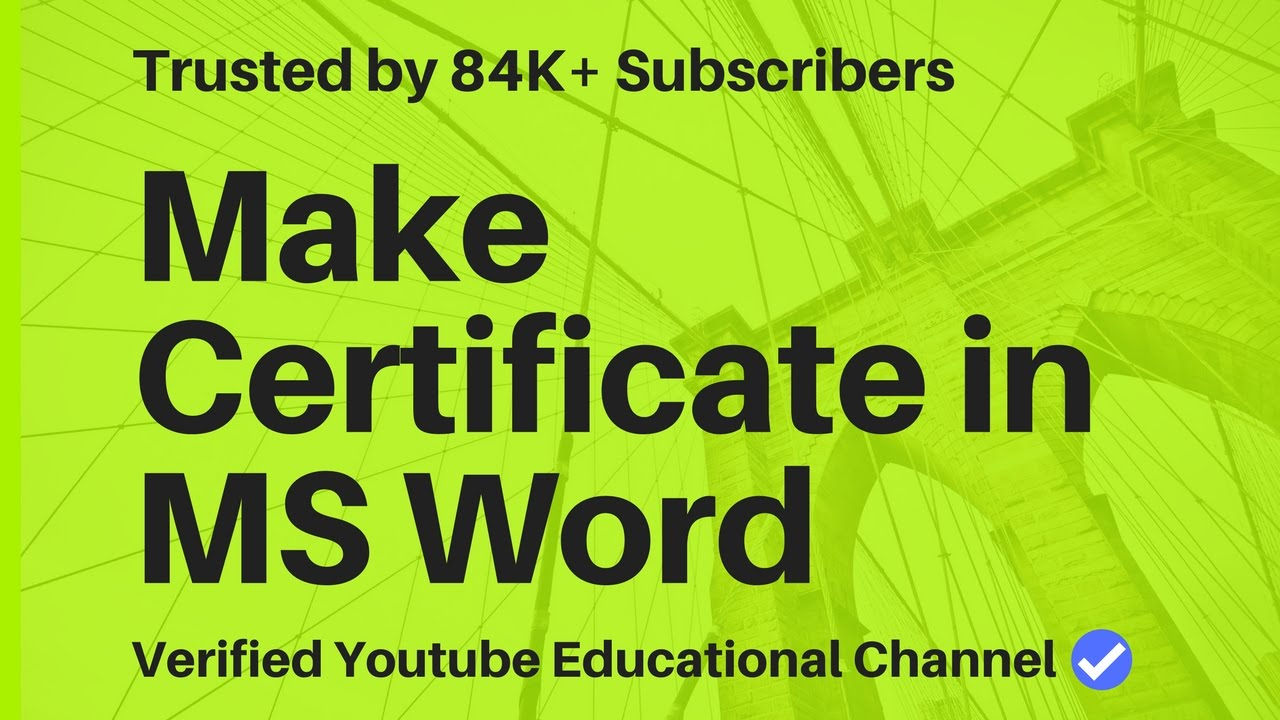 How To Create Certificate In Word â˜u0027 YouTube Maxresdefault  Watch?vu003dsCHtOZRBEQc  Create A Certificate In Word